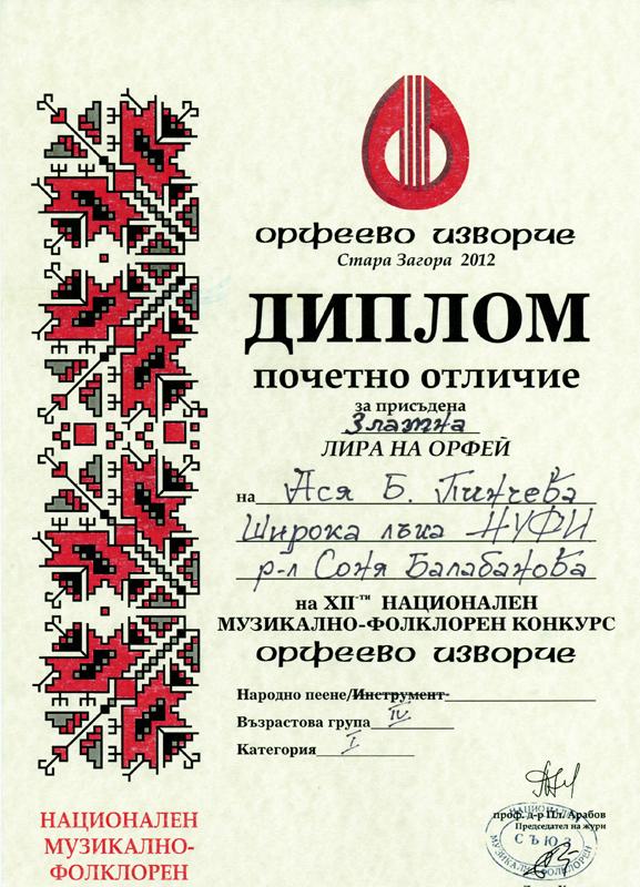 Ася Пинчева - Орфеево Изворче 2012