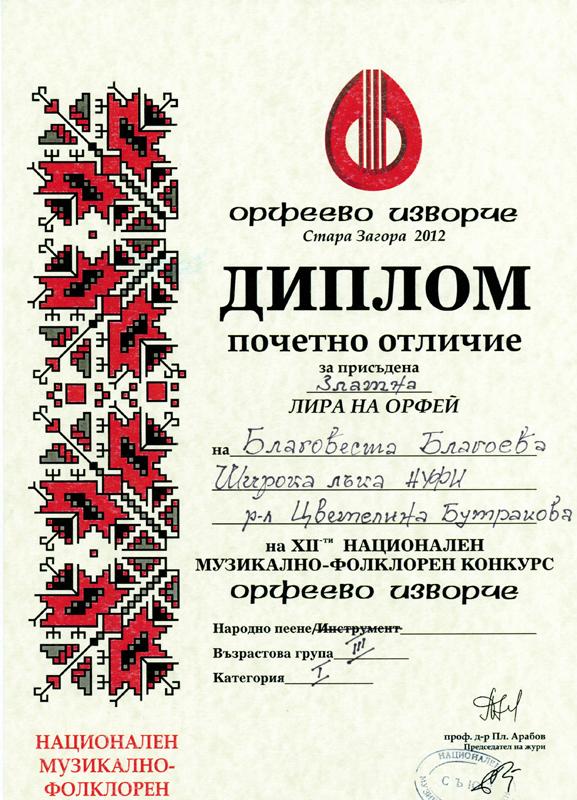Благовеста Благоева - Орфеево Изворче 2012