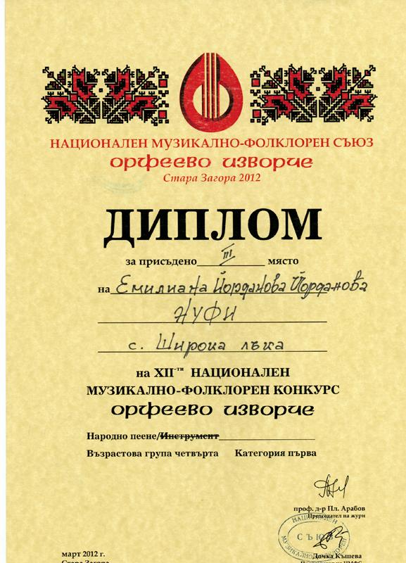 Емилиана Йорданова - Орфеево Изворче 2012