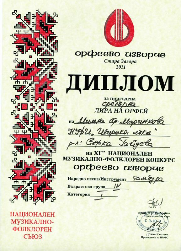 Милена Маринкова - Орфеево Изворче 2011