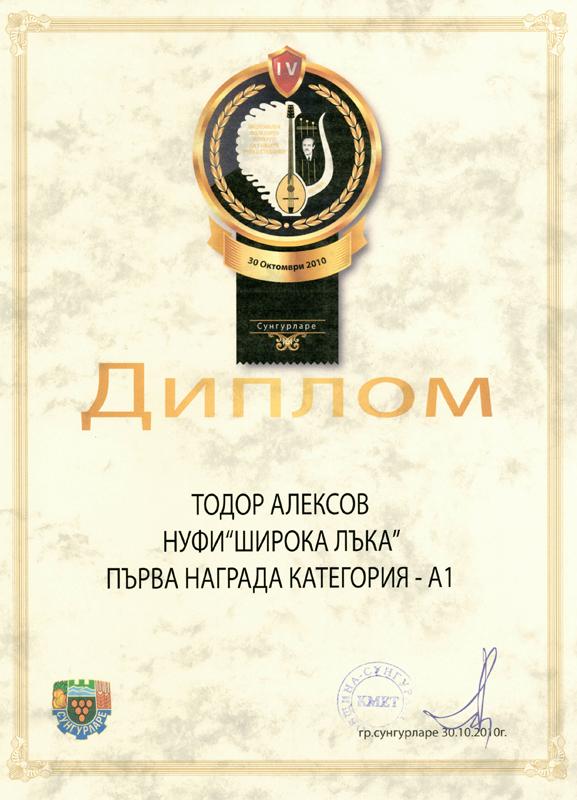 Тодор Алексов - Фолклорен Конкурс за Тамбура 2010